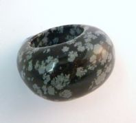 Large Chunky Snowflake Obsidian Carved Ring.